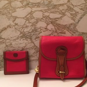 Vintage Dooney and bourke red Essex bag & wallet